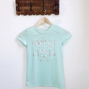 Miss Me | Mint Green Graphic Logo Tee